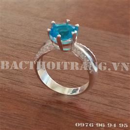 Nhẫn nữ bạc đá xanh